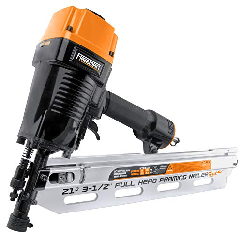 Freeman PFR2190 Pneumatic 21 Degree 3-1/2' Full Round Head Framing Nailer with Case Ergonomic and Lightweight Nail Gun with Interchangeable Trigger, Tool-Free Depth Adjust, and No Mar Tip, Black