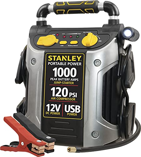 STANLEY J5C09 Portable Power Station Jump Starter: 1000 Peak/500 Instant Amps- 120 PSI Air Compressor- USB Port- Battery Clamps